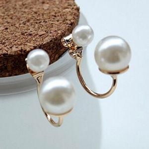 Jewelry - 😍 Stylish Goldtone Double Pearl Earrings 😍
